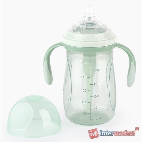 Бутылочка Happy Baby антиколиковая с ручками и силиконовой соской 300 мл 10020 Olive
